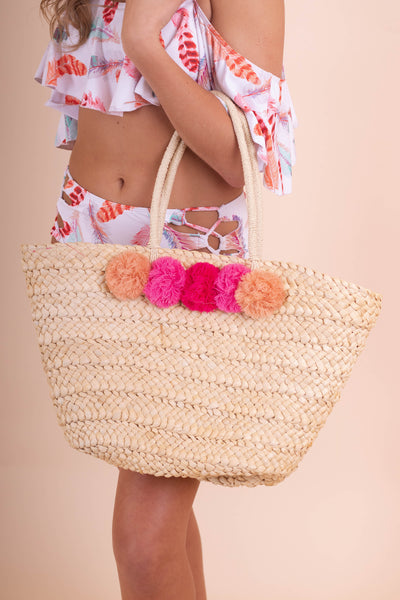 Colorful Woven Pom Tote- Pink Ombre Pom Pom Beach Bag- $32- Juliana's Boutique