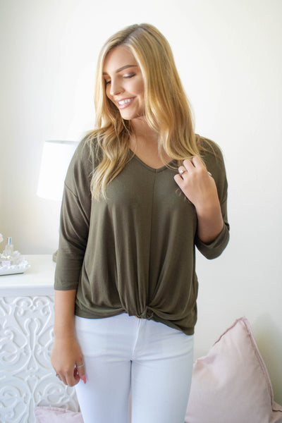 Pretty Olive Green Blouse- Women's Olive Green Top- $25