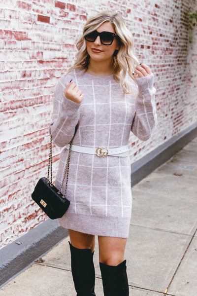 Chic Taupe Sweater Dress- Women's Plaid Sweater Dress- Mini Sweater Dress- $48
