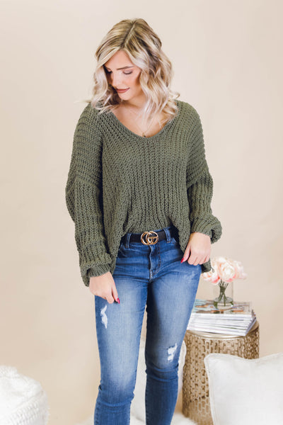 A Dash Of Spice Sweater-Olive