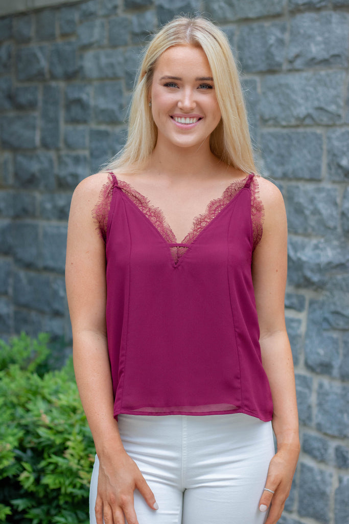Stylish Maroon Lace Cami- Lace Trim Tank Top- $34- Juliana's Online Trendy Boutique