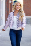 Women's Snakeskin Jacket- Blush Pink Jacket- Oversized Boyfriend Fit Jacket- $52