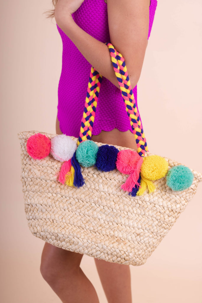 Colorful Woven Pom Tote- Multi Colored Pom Pom Beach Bag- $34- Juliana's Boutique