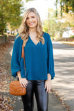 Women's Dark Teal Blouse- Women's Cute V-Neck Blouse- $38