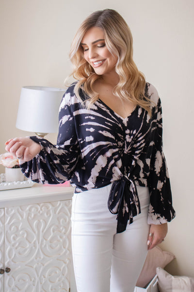 Gorgeous Tie Dye Blouse- Women's Black And White Tie Dye Blouse- Women's Work Blouse- $40