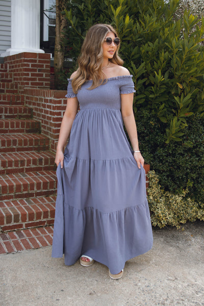 Denim Blue Maxi Dress- Smocked Maxi Dress- Spring Summer Maxi Dresses- $50
