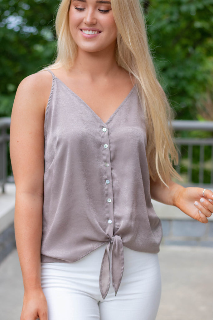 Taupe Sliky Camisole- Cute Button Down Tank With Tie- $28