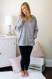 Super Soft Grey Sherpa Hoodie- Women's Grey Sherpa Pullover With Hood- $40