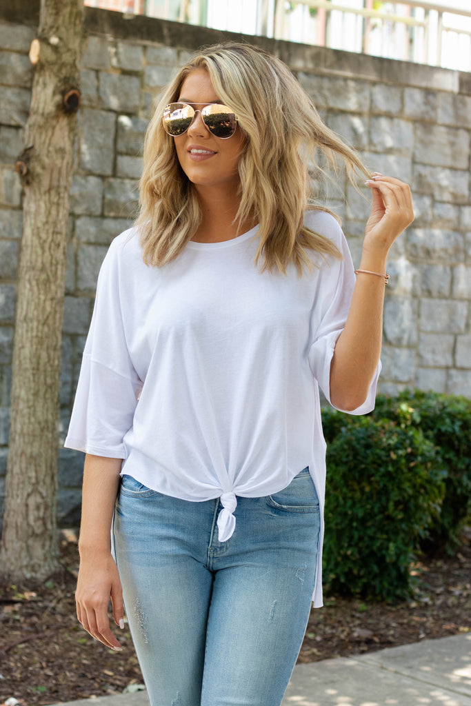 Women's Oversized White T-Shirt- Women's Relaxed Fit Tee- $18- Juliana's Online Boutique