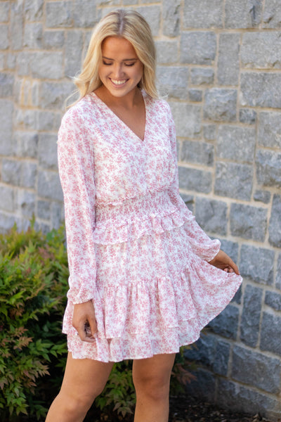 Floral Pink Ruffled Dress- Women's Long Sleeve Floral Dress- $45