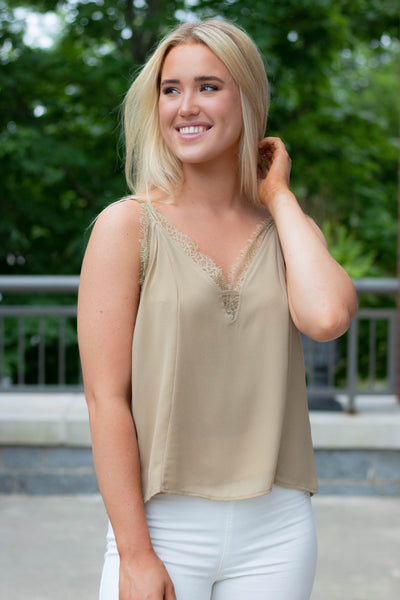 Stylish Light Olive Lace Cami- Lace Trim Tank Top- $34- Juliana's Online Trendy Boutique