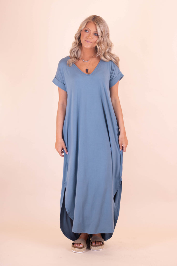 Casual Dark Aqua Maxi Dress- Trendy T-Shirt Maxi Dress- $32- Juliana's Boutique