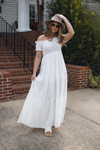 White Maxi Dress- Smocked Maxi Dress- Spring Summer Maxi Dresses- $50