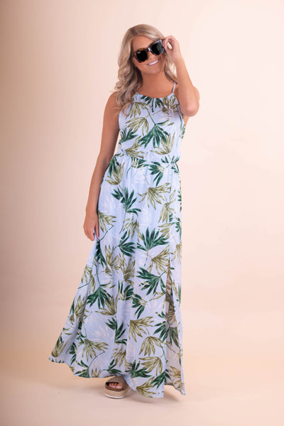 Gorgeous Palm Print Maxi Dress- Light Blue Maxi Dress- $45- Juliana's Boutique