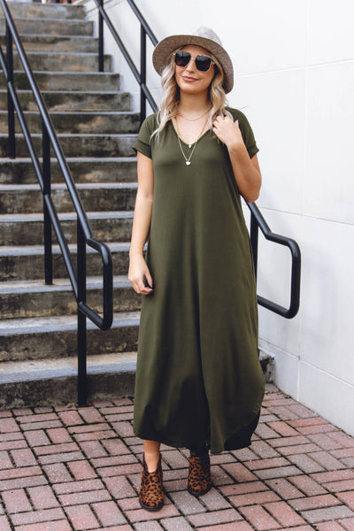 Women's Golden Mustard Dress- Women's Tiered Babydoll Dress- Women's Cami Style Dress- $42