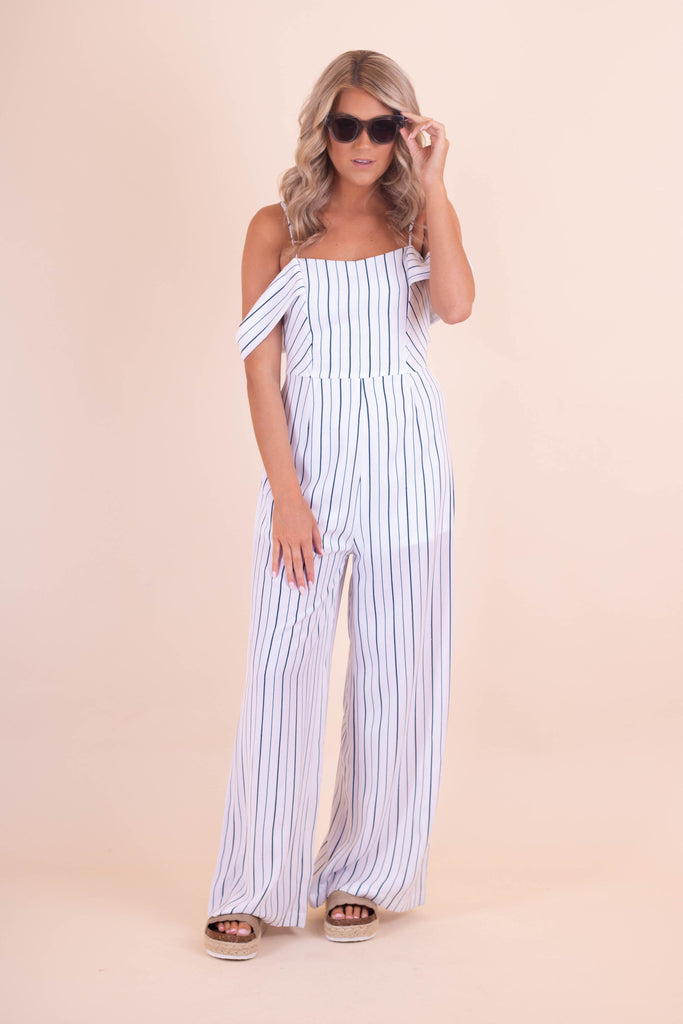 Chic Women's Jumpsuit- Navy And White Stripe Jumpsuit- $44- Juliana's Boutique