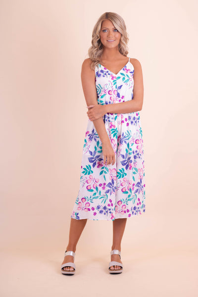 Fun Tropical Print Jumpsuit- Colorful Women's Jumpsuit- $42- Juliana's Boutique