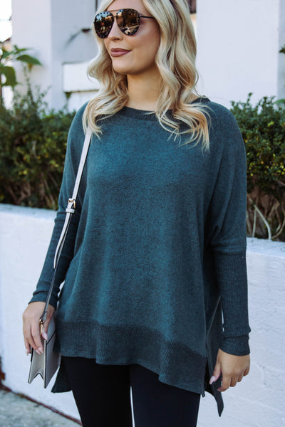 Women's Hunter Green Super Soft Blouse- Women's Hunter Green Tunic Top- $38