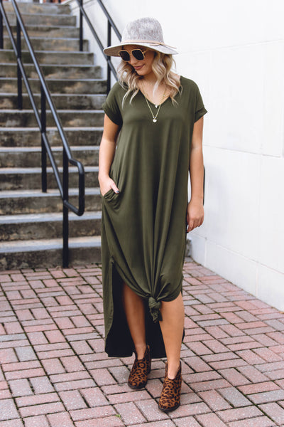 Casual Olive Green Maxi Dress- Trendy T-Shirt Maxi Dress- Jersey Knit Maxi- $32