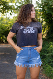 Hand Bleached Crop T-Shirt- Women's Bleached Tee- Women's Cute Graphic Tees- $32