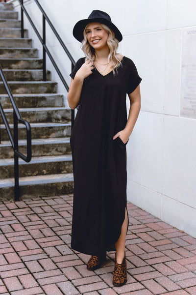 Casual Black Maxi Dress- Trendy T-Shirt Maxi Dress- Jersey Knit Maxi- $32