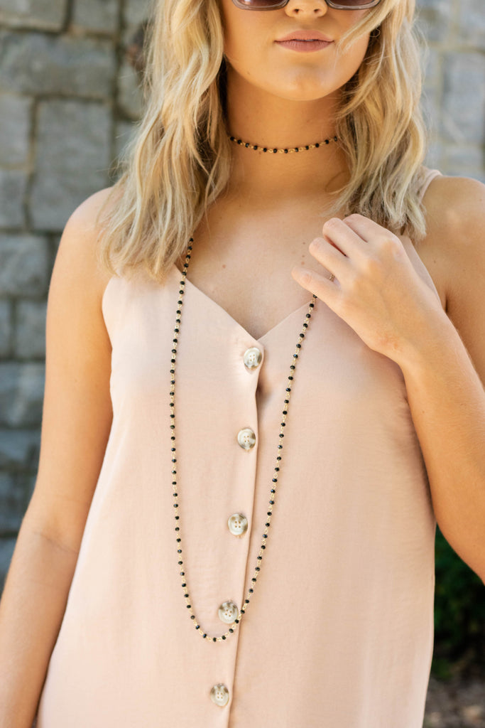 Pretty Bronze Necklace- Long Beaded Layering Necklace- $22- Juliana's Online Boutique