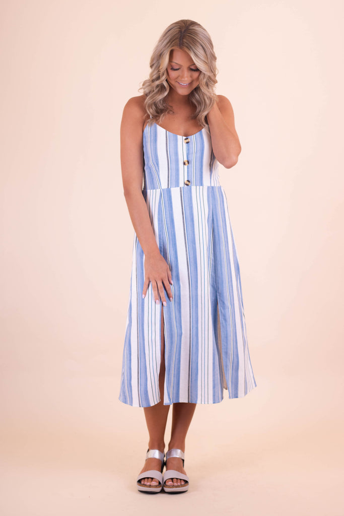 Classic Blue and White Striped Midi Dress- Women's Summer Midi Dress- $42- Juliana's Boutique