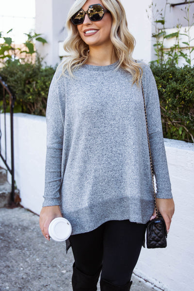 Women's Grey Super Soft Blouse- Women's Dark Grey Tunic Top- $38