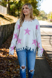 Women's Star Sweater- Distressed Star Sweater- Pink Star Sweater- $48