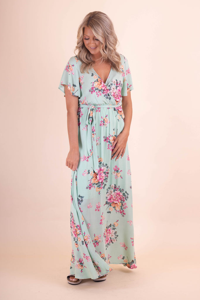 Mint Green Maxi Dress- Beautiful Floral Women's Maxi- $48- Juliana's Boutique