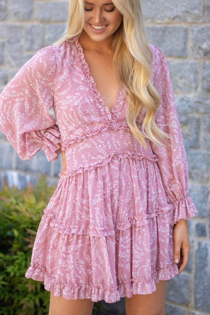 Mauve Pink Open Back Dress- Floral Long Sleeve Pink Dress- Women's Open Back Dress- $45