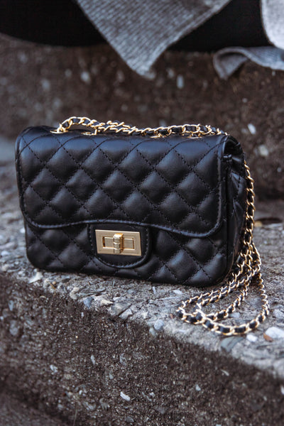 Small Black Quilted Crossbody- Designer Dupe Quilted Crossbody- $34