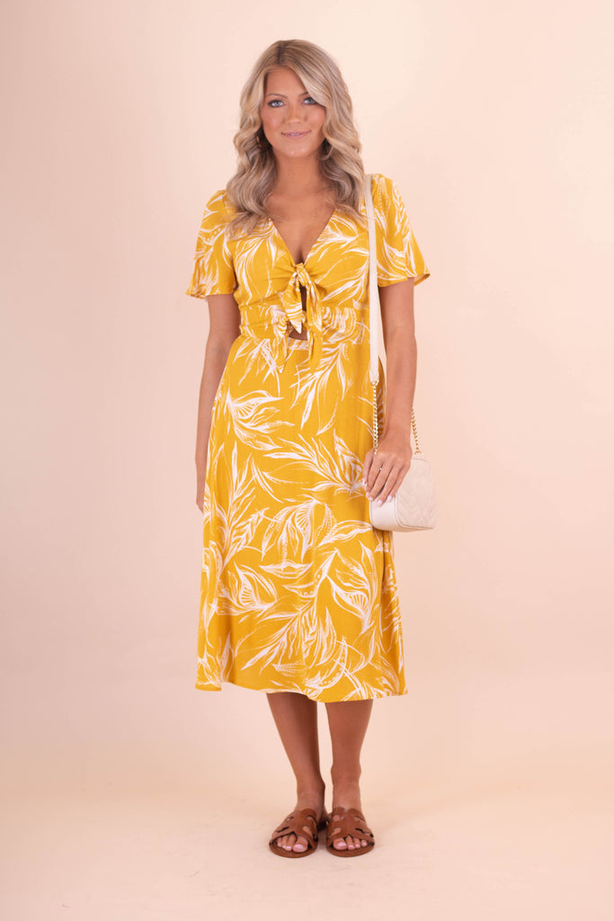Women's Golden Yellow Midi Dress- Tropical Print Midi Dress- $48- Juliana's Boutique