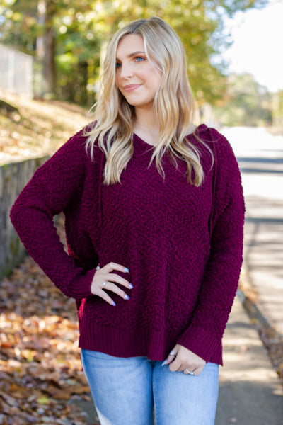 Cute Popcorn Hoodie- Burgundy Popcorn Sweater- $42- Juliana's Boutique