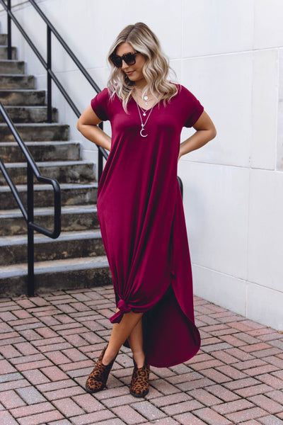 Casual Burgundy Maxi Dress- Trendy T-Shirt Maxi Dress- Jersey Knit Maxi- $32