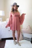 Women's Off The Shoulder Dress- Women's Short Pink Dress- Bell Sleeve Dress- $45