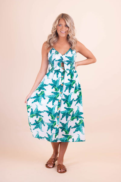 Women's Palm Leaf Print Midi Dress- Tropical Print Midi Dress- $42- Juliana's Boutique