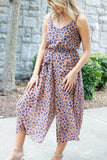 Women's Leopard Jumpsuit- Women's Trendy Animal Print Jumpsuit- $42