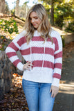 Rust And White Stripe Popcorn Hoodie- Cute Popcorn Hoodie- Cozy Fall Top- $38