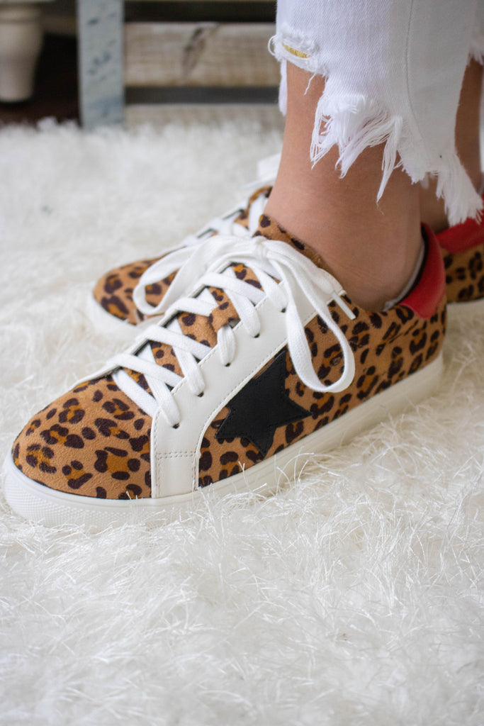 Women's Leopard Star Sneakers- Women's Designer Dupe Tennis Shoes- $34