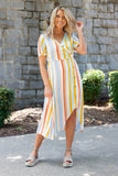 Colorful Stripe Midi Dress- Cute Midi Dress With Stripes- Blogger Dresses Under $50- $42