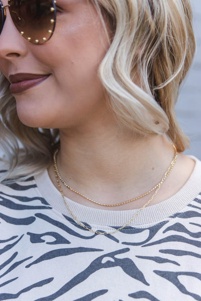 Gold Layered Chain Necklace- Chic Simple Layered Necklace- $14