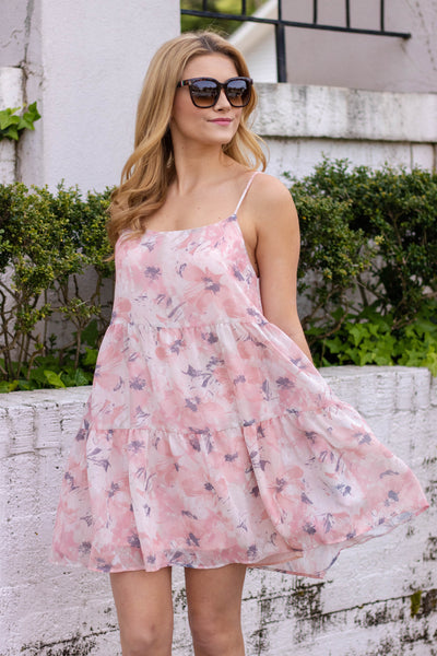 Women's Blush Pink Floral Dress- Pink Babydoll Summer Dress- $38