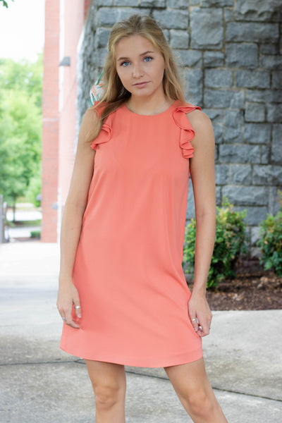 Coral Shift Dress- Ruffle Sleeve Shift Dress- $38- Affordable Women's Boutique