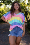 Women's Rainbow Stripe Tee- Colorful Oversized Tee- Women's Rainbow Tee- $34