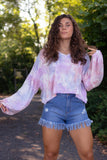 Women's Pink And Purple Tie Dye Top- Cropped Tie Dye Shirt- Long Sleeve Crop Top- $42