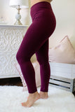 Maroon Fleece Lined Leggings- Non See Through Leggings- Warm Leggings- Juliana's Boutique