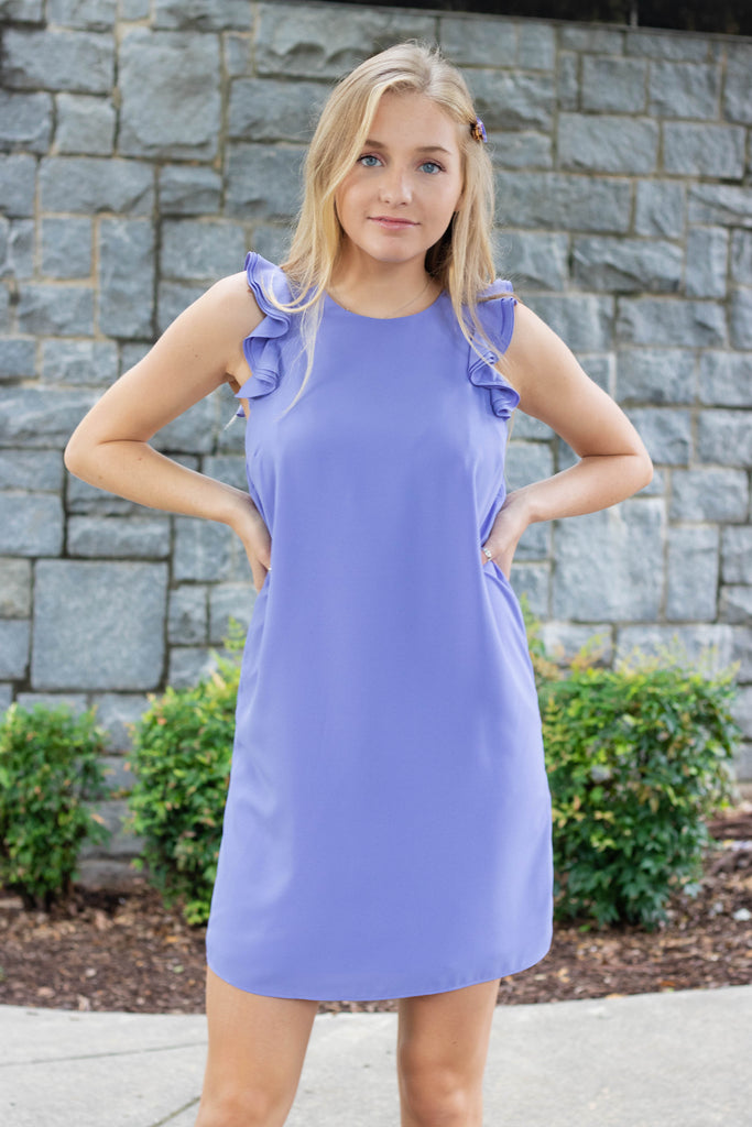 Periwinkle Shift Dress- Ruffle Sleeve Shift Dress- $38- Affordable Women's Boutique