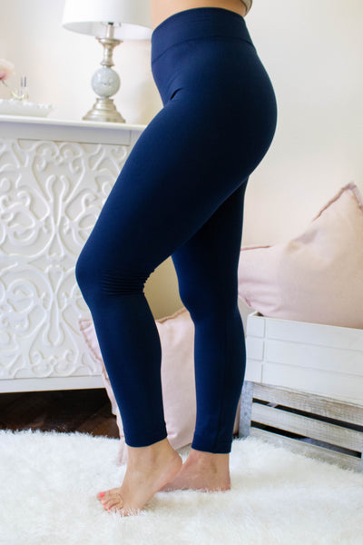Navy Fleece Lined Leggings- Non See Through Leggings- Warm Leggings