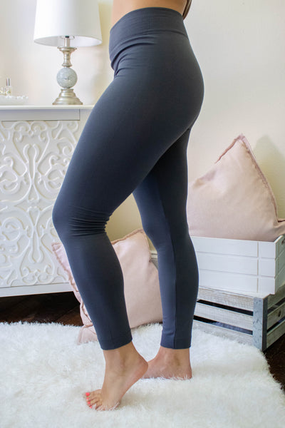 Dark Grey Fleece Lined Leggings- Non See Through Leggings- Warm Leggings